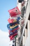 Banderas en un edificio Imágenes de archivo libres de regalías