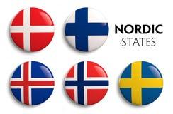 Banderas escandinavas nórdicas Fotografía de archivo