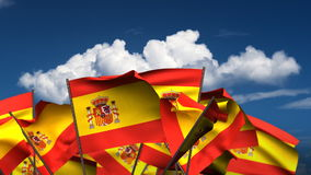 Banderas españolas que agitan ilustración del vector