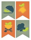 Banderas, etiquetas y emblemas de la comida stock de ilustración