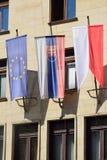 Banderas euro y eslovacas Foto de archivo