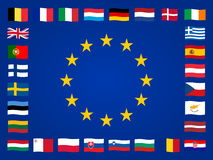 Banderas europeas Foto de archivo libre de regalías