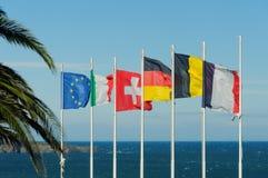 Banderas europeas Imagen de archivo libre de regalías