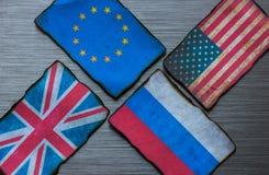 Banderas europeas, americanas, rusas y británicas Fotografía de archivo