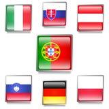 Banderas europeas hechas como botones del web Fotografía de archivo