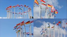 Banderas europeas que agitan en el cielo almacen de metraje de vídeo