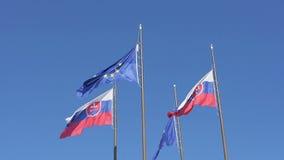 Banderas europeas y eslovacas metrajes