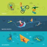 Banderas extremas de los deportes Imagen de archivo
