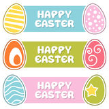 Banderas felices de Pascua con los huevos retros ilustración del vector