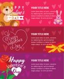 Banderas felices del día de tarjetas del día de San Valentín con el oso de peluche Imágenes de archivo libres de regalías