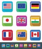 Banderas fijadas Foto de archivo libre de regalías