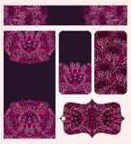 Banderas fijadas con Lacy Pattern rosado stock de ilustración
