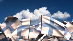 Banderas finlandesas que agitan stock de ilustración