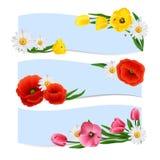 Banderas florales horizontales Fotografía de archivo