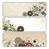 Banderas florales horizontales lindas abstractas Fotos de archivo libres de regalías