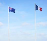 Banderas francesas y australianas Imagen de archivo libre de regalías