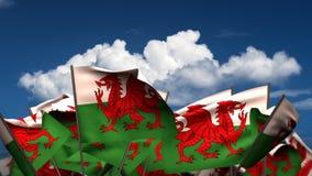 Banderas Galés que agitan stock de ilustración