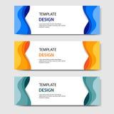 Banderas horizontales con el estilo cortado de papel del extracto 3D Disposición de diseño del vector para la web, bandera, jefe, ilustración del vector