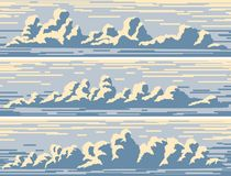 Banderas horizontales con las nubes de cúmulo azules libre illustration
