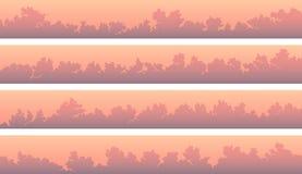 Banderas horizontales con las nubes de cúmulo en la puesta del sol rosada ilustración del vector
