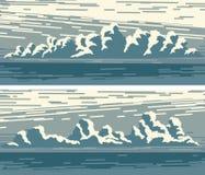 Banderas horizontales con las nubes y el mar azules de cúmulo libre illustration