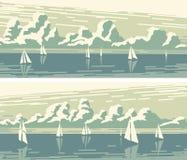 Banderas horizontales con los veleros y las nubes de cúmulo libre illustration