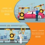 Banderas horizontales de la automatización Industria 4 0 y concepto de la tecnología Ilustración del vector ilustración del vector