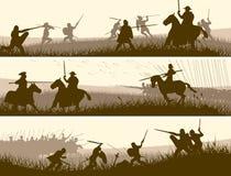 Banderas horizontales de la batalla medieval. Imagen de archivo