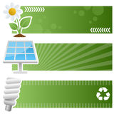 Banderas horizontales de la ecología verde Imágenes de archivo libres de regalías