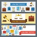 Banderas horizontales de la ley y de la justicia en diseño plano stock de ilustración