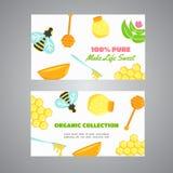 Banderas horizontales de la miel con los elementos planos de la miel Cartel con la abeja, colmena, tarro, panal Ilustración del v Foto de archivo