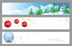 Banderas horizontales de la Navidad Foto de archivo libre de regalías