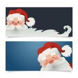 Banderas horizontales de la Navidad del vector Ejemplo Papá Noel feliz del vector con una barba Imagen de archivo libre de regalías