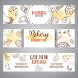 Banderas horizontales de la panadería con los pasteles Pasteles dulces, magdalenas, carteles con la torta de chocolate, dulces de Fotos de archivo
