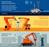 Banderas horizontales de la robótica y de la automatización fijadas libre illustration