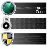 Banderas horizontales de la seguridad del web Fotografía de archivo libre de regalías