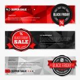 Banderas horizontales de la venta del total de Black Friday fijadas Foto de archivo