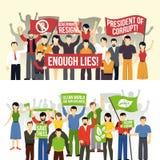 Banderas horizontales de las demostraciones políticas y ecológicas Fotos de archivo libres de regalías