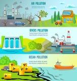 Banderas horizontales de los problemas ecológicos Fotografía de archivo