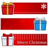 Banderas horizontales de los regalos de la Navidad fijadas stock de ilustración