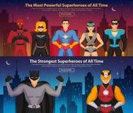 Banderas horizontales de los super héroes stock de ilustración