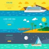 Banderas horizontales del concepto náutico del viaje fijadas Fotografía de archivo libre de regalías