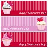 Banderas horizontales del día de la tarjeta del día de San Valentín s Fotografía de archivo libre de regalías