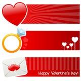 Banderas horizontales del día de la tarjeta del día de San Valentín s del santo Fotos de archivo