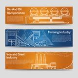 Banderas horizontales del paisaje industrial de la fábrica stock de ilustración