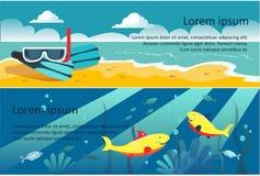 Banderas horizontales del viaje del verano, playa, máscara del buceo con escafandra, ejemplo subacuático del vector del mundo ilustración del vector