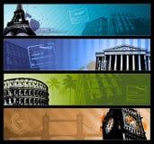 Banderas horizontales del viaje de las ciudades de Europa stock de ilustración