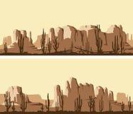 Banderas horizontales estilizadas del desierto del oeste salvaje imagen de archivo