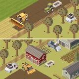 Banderas horizontales isométricas del rancho libre illustration