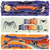 Banderas horizontales retras sucias del feliz Halloween Imagenes de archivo